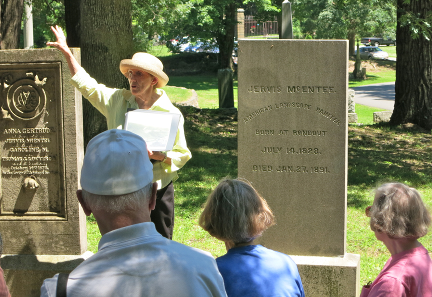 Pat Murphy conducting a cemetery tour